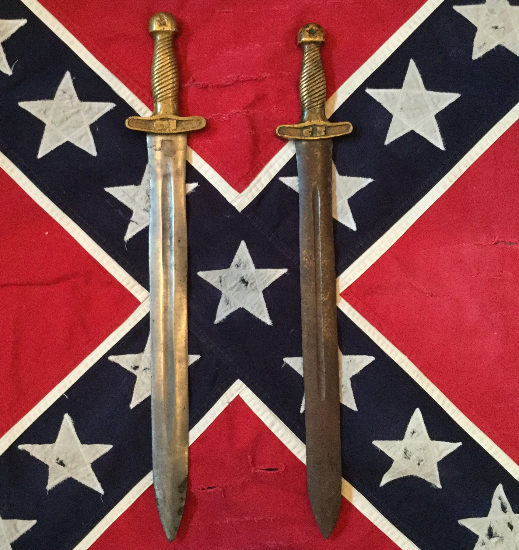 Confederate Short Sword, Left is Authentic, Right is Fake