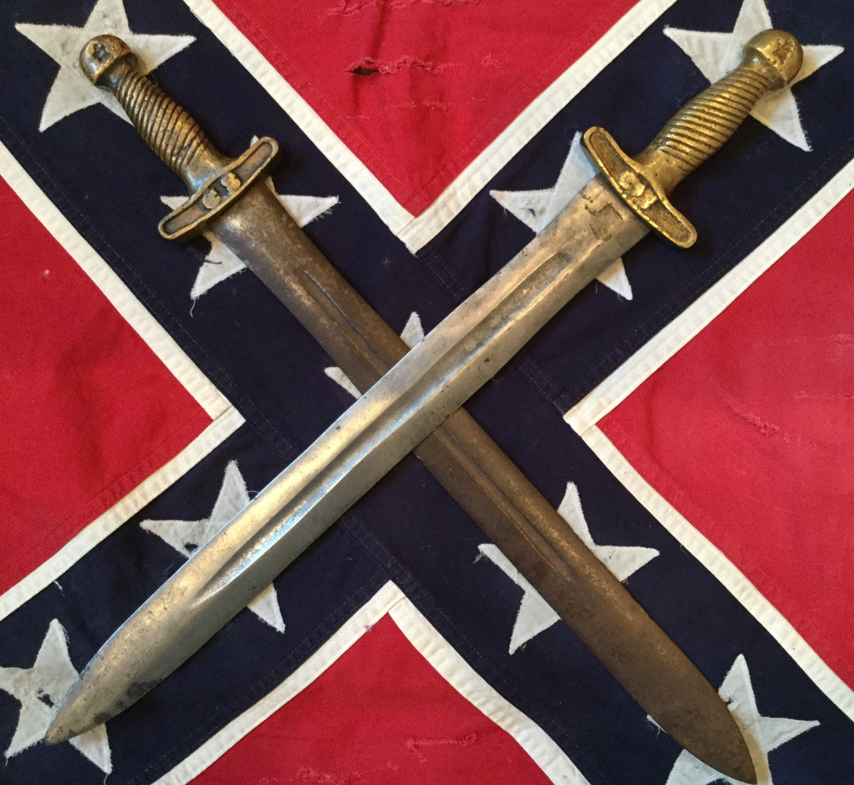 Confederate Artillery Sword, Top is Authentic, Bottom is Fake
