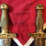 Confederate Artillery Sword Handle, Left Authentic, Right Fake