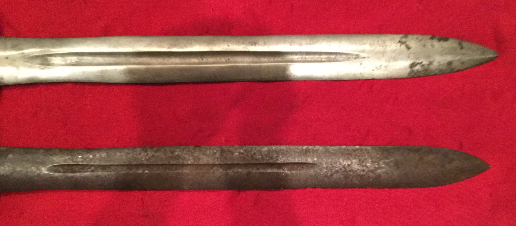 Confederate Short Sword Blade, Top is Authentic, Bottom is Fake