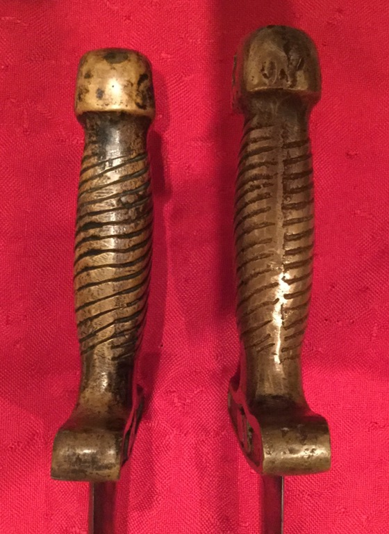 Confederate Short Sword Side View, Left is Fake, Right is Authentic