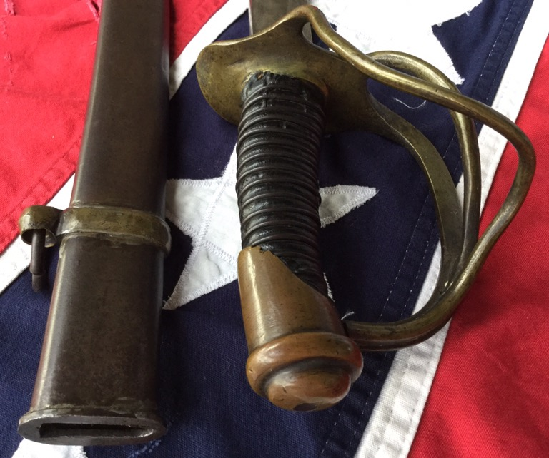 Confederate Enlisted-mans Calvary Sword, Grip and Scabbard Throat
