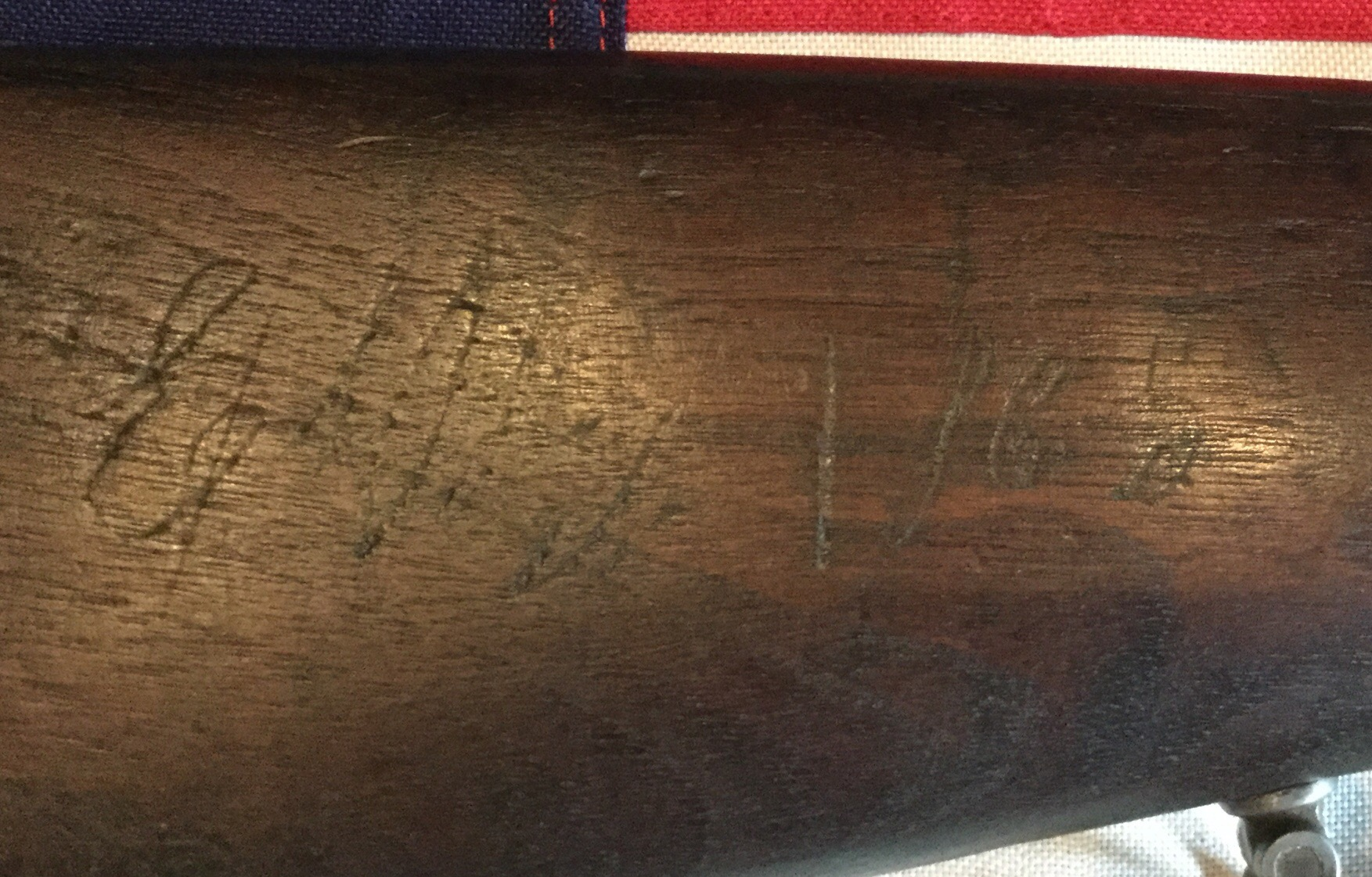 Richmond Stock With Carved Initials Dated 1865