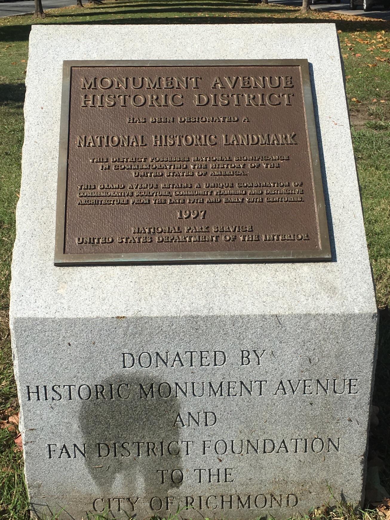 Monument Avenue Historic District Plaque