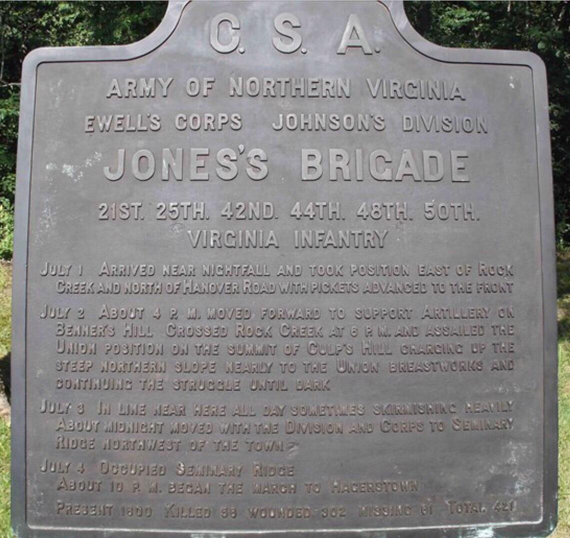 Jones Brigade Plaque, Gettysburg Pennsylvania
