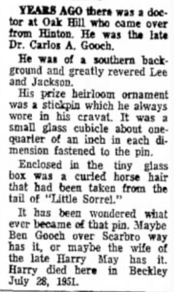 Little Sorrel Stickpin, Beckley Post Herald, W. Virginia