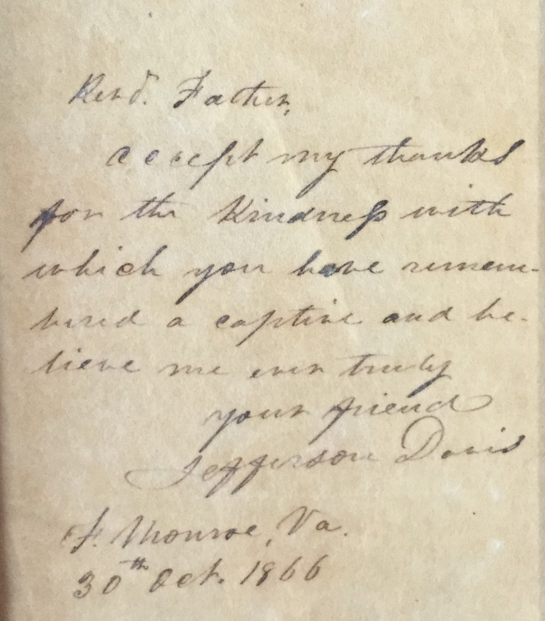 Jefferson Davis Letter To Jacob A. Walter
