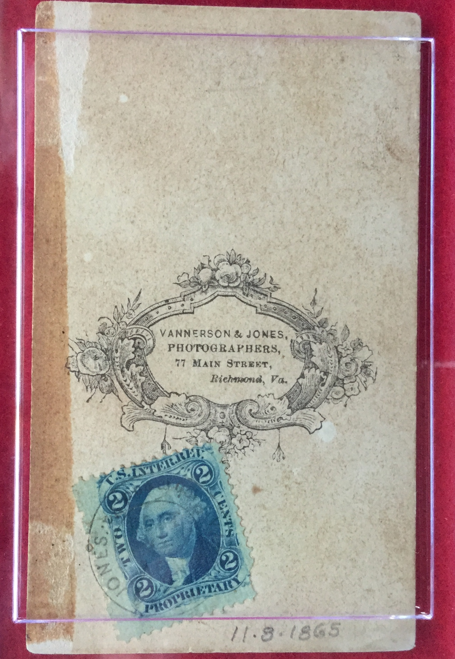 Vannerson & Jones Photographers & U.S. Tax Stamp